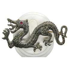 Vintage Sterling Silver Marcasite Dragon Brooch/Pin