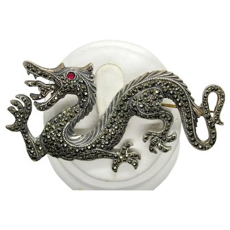 Vintage Sterling Silver Marcasite Dragon Brooch/Pin