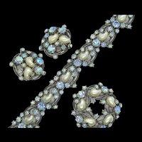 Vintage Florenza Faux Pearl and Blue Rhinestone Demi Parure