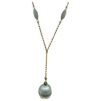 Art Deco Mint Green Guilloche Enamel Vinaigrette Lavaliere Necklace