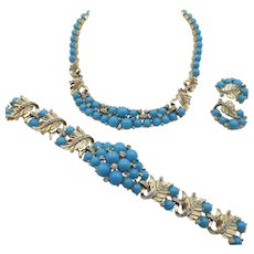 Vintage Jomaz Faux Turquoise and Rhinestone Necklace, Bracelet, Earring Parure