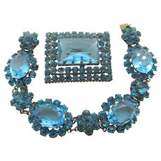1930s Czech Aqua Blue Rhinestone Bracelet and Brooch/Pin Set