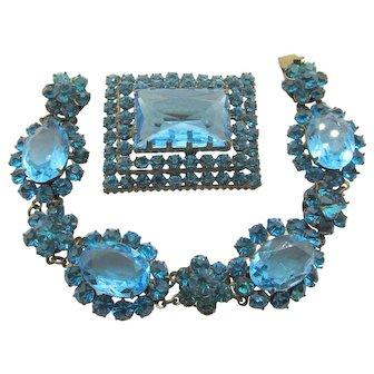 1930s Czech Aqua Blue Rhinestone Bracelet and Brooch/Pin Set