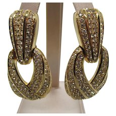 Vintage Ciner Rhinestone Doorknocker Clip Earrings