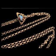 Antique Victorian Rose Gold Opal Slide Watch Necklace