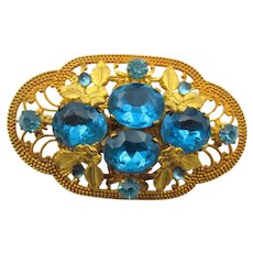 Vintage Czech Turquoise Blue Rhinestone Brooch/Pin