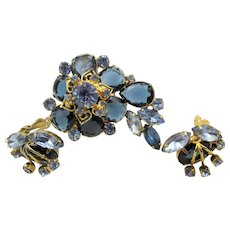 Vintage DeLizza & Elster Juliana Faceted Blue Rhinestone Brooch and Earrings