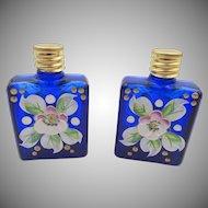 Vintage Czech Miniature Hand-painted Cobalt Blue Pair Perfume Bottles