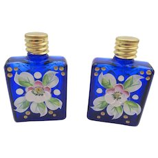 Vintage Czech Miniature Hand-painted Cobalt Blue Pair Perfume Bottles