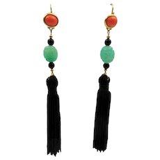 Vintage KJL Kenneth Jay Lane Art Deco Style Tassel Pierced Earrings - Faux Jade & Coral