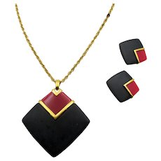 Crown Trifari Black and Red Lanvin Era Necklace and Clip Earrings