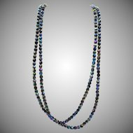 Vintage Czech Long Glass Faceted Beaded Necklace - 62 inches