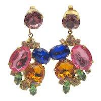 Vintage Chunky Glass Rhinestone Drop Clip Earrings