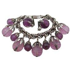 Vintage 1950s Napier Faceted Purple Lucite Charm Bracelet and Earrings