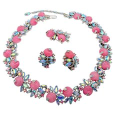 Crown Trifari 1960s Blue AB and Pink Shoe Button Necklace, Pin and Earring set