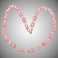 Vintage Czech Glass Beaded Crystal and Pink Art Glass Necklace