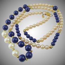 Lanvin Paris Faux Pearl and Lapis 36 Inch Necklace