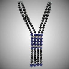 "Vintage KJL Kenneth Jay Lane Art Deco Style - Faux Lapis  & Onyx 33"""