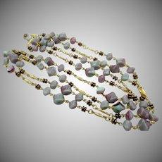 Pair of Czech Blue Purple Art Glass Chain Necklaces