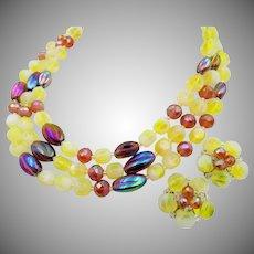 Schiaparelli Triple Strand Art Glass Necklace and Clip Earring Set