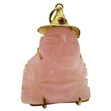 14K Gold Pink Jadeite Buddha Chinese Pendant/Charm