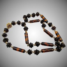Vintage Signed Miriam Haskell Faux Tortoise and Black Glass Rhinestone Necklace