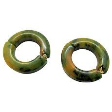 Vintage Bakelite Green and Yellow Hoop Earrings - 1940s
