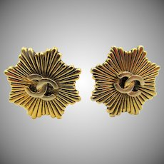 Chanel CC Logo Starburst Gold Plated Clip Earrings - 1984