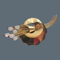 Coro Sterling Moonstone Rhinestone Brooch Pin