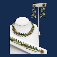 Signed Miriam Haskell Navette Rhinestone Necklace, Bracelet and Earrings Parure