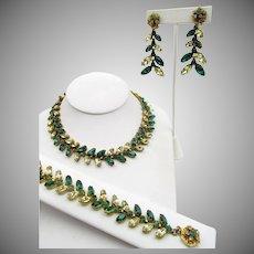 Miriam Haskell Unusual Navette Rhinestone Necklace, Bracelet and Earrings Parure