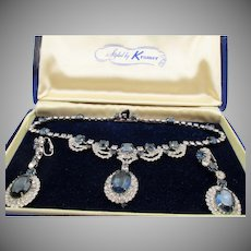 Stunning Kramer of New York Midnight Blue and Crystal Rhinestone Drop Necklace and Earrings