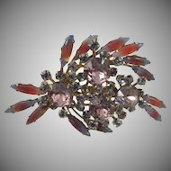 Vintage Orchid and Givre Rhinestone Spray Brooch