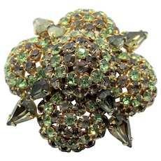 Vintage Warner Green Rhinestone Domed Brooch/Pin