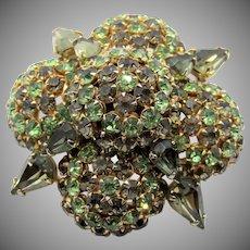 Vintage Warner Green Rhinestone Domed Brooch/Pin