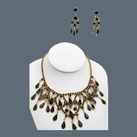 Vintage Black Glass Rhinestone Bib Necklace and Chandelier Earrings