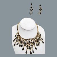 Vintage Black Glass Rhinestone Bib Necklace and Chandelier Earrings