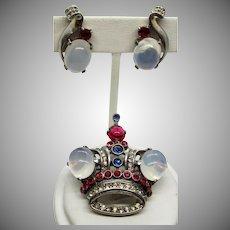 Trifari 1944 Alfred Philippe Sterling Moonstone Crown Brooch and Earrings