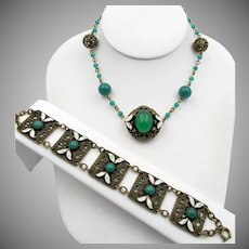 Wonderful Czech Enamel and Green  Glass Brass Filigree Necklace and Bracelet