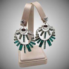 Vintage Henri Bendel NYC Pierced Baguette Rhinestone Chandelier Earrings