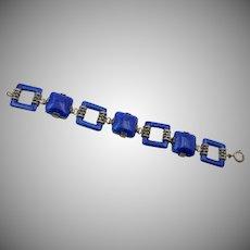 Signed Czechoslovakia Blue Faux Lapis Bracelet