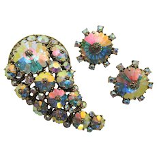 Weiss Aurora Borealis Margarita Rhinestone Brooch and Clip Earring Set