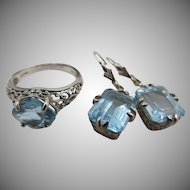 Sterling Silver Filigree Blue Topaz Ring and Pierced Earrings