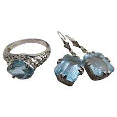 Sterling Silver Filigree Blue Topaz Ring and Pierced Earrings