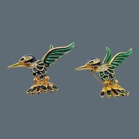 Pair of Sphinx England Enamel and Rhinestone Hummingbird Pins