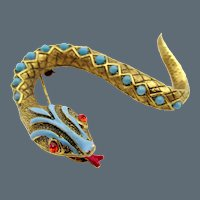 Signed Art Enamel and Faux Turquoise Serpent Snake Brooch