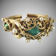 Vintage Art Nouveau Czech Faux Chrysoprase Hinged Bracelet