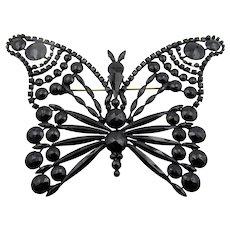 Czech Jet Huge Butterfly Brooch