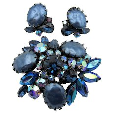 Regency Blue Faux Pearl and Glass Rhinestone Brooch and Clip Earring Set
