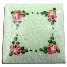Miniature Mint Green Guilloche Enamel Roses Double Picture Frame